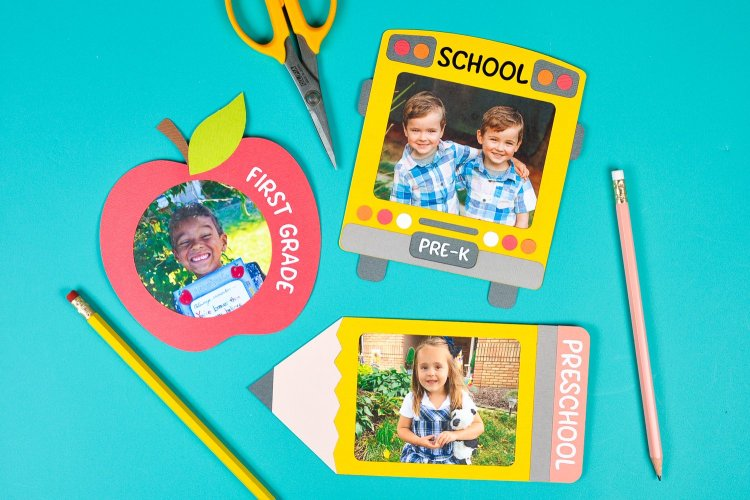 Immortalize those first day of school photos with these three school-themed frames, cut on your Cricut! These back to school frames are perfect for scrapbooks, teacher projects, refrigerators and more!