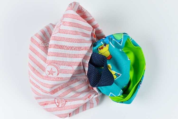 Turn the bag right-side out through the hole in the bottom of the lining.
