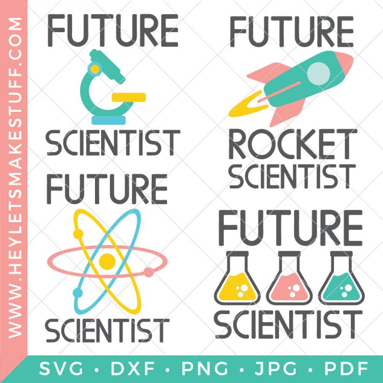 Inspire your very own genius to reach for the stars with this Future Scientist SVG Bundle. Four colorful cut files full of potential as amazing as your little one!