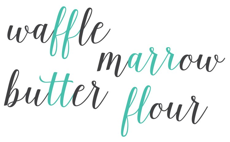 Example of ligatures using the words waffle, marrow, butter, flour.