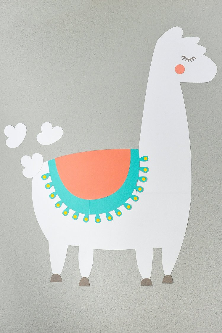 Make a Cricut Project Bigger than the Mat: image of final llama game on the wall