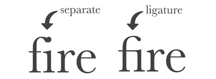 "example of a ligature using the word ""fire"""