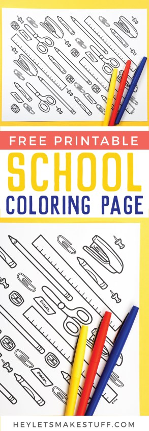 Crayons, pencils and scissors, oh my! The new school year is just about here, get ready (and celebrate) with this Free Printable Back to School Coloring Page! Kids of all ages will love adding their favorite colors to this fun printable.
