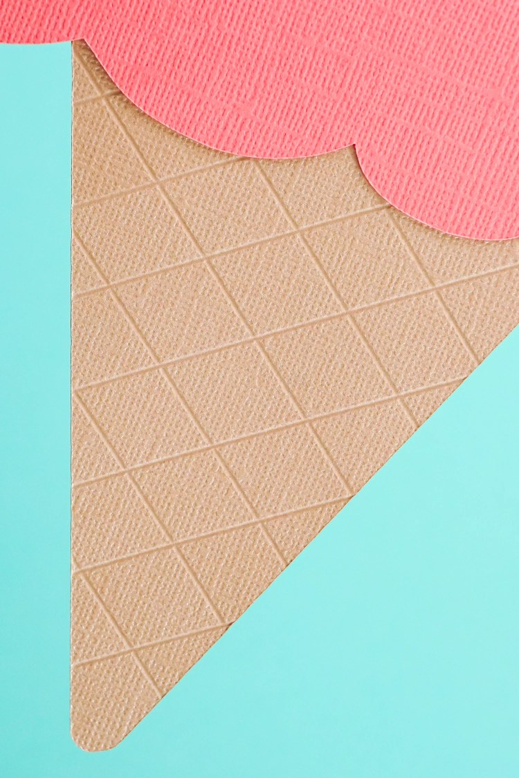 Up-Close of the debossed ice cream cone