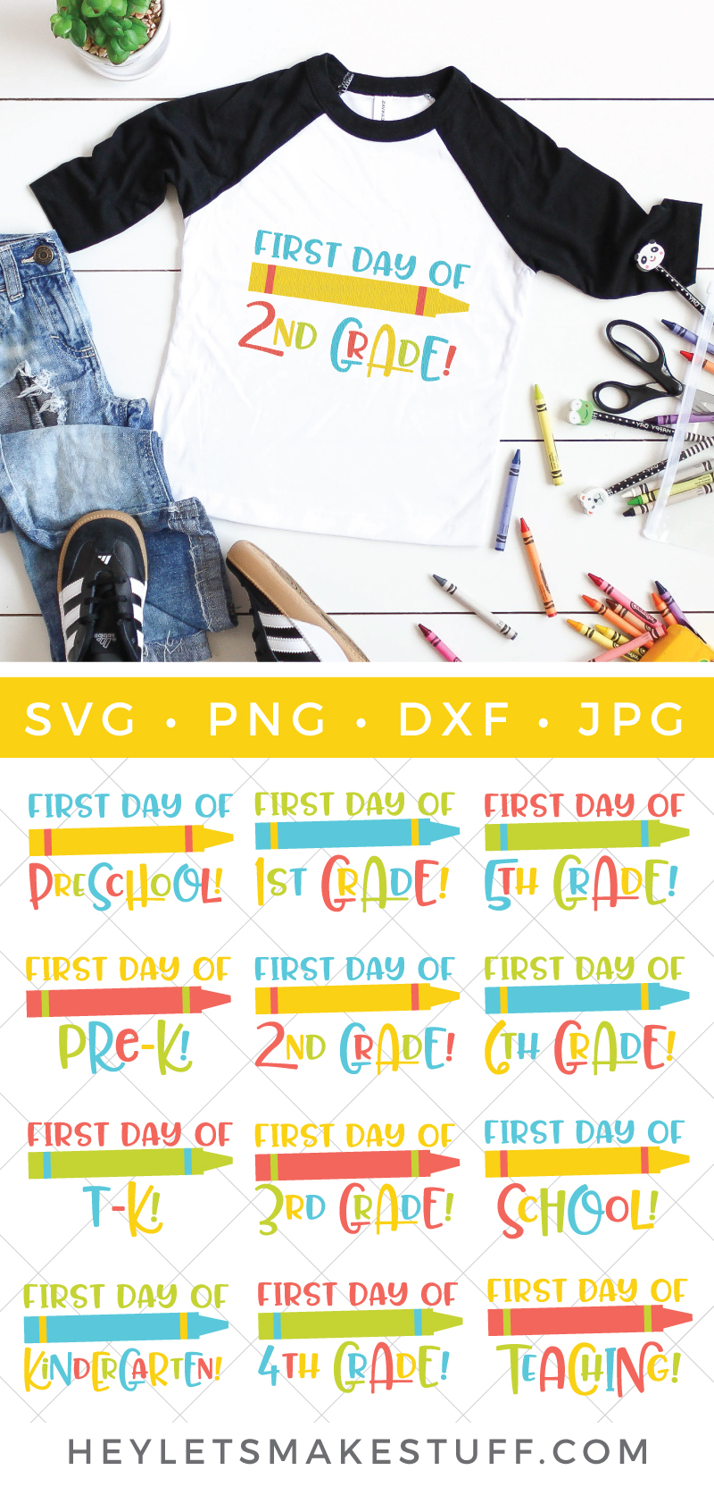 Before you know it school will be back in session! Get those little students of yours ready for all those cute and memorable first day photo ops with this fun First Day of School SVG Bundle. via @heyletsmakestuf