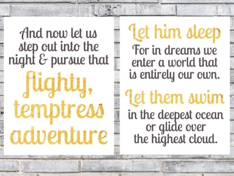 These Albus Dumbledore quotes designed by The Postpartum Party are meant for sleeping babies but could work for any Harry Potter room theme or event.