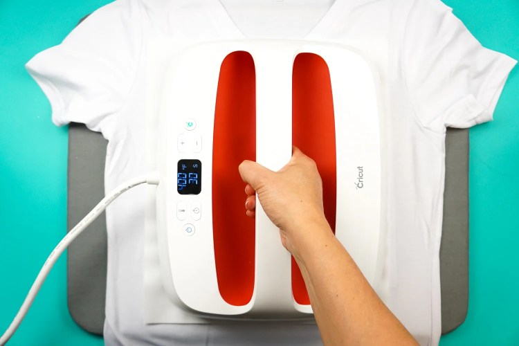 EasyPress on top of shirt, preheating