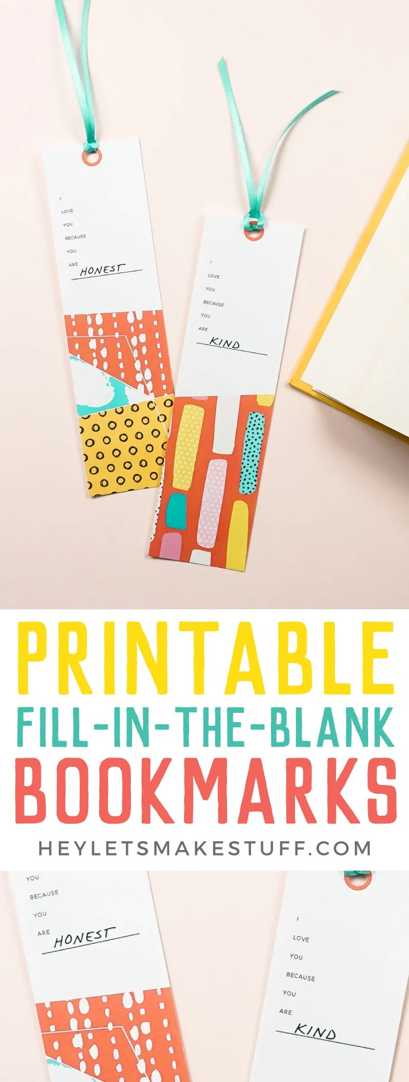 """Tell someone they are special with these sweet printable bookmarks! Just print and fill in the blank: """"I love you because you are_____"""" and gift to your favorite bookworm! via @heyletsmakestuf"""