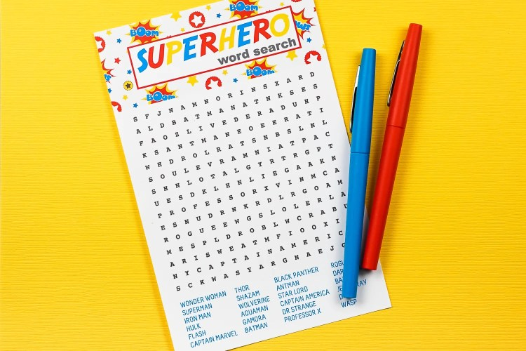 Celebrate your favorite masked men and women with this fun printable superhero word search! Find all your favorite superheroes—it's perfect for kids, adults, teachers and students and anyone else who wants to save the day!