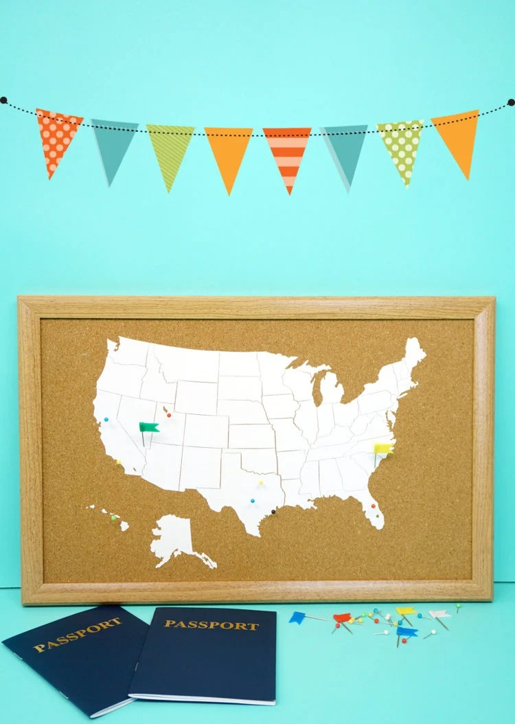 Show off your family's passion for travel with this DIY cork board travel map from happinessishomemade.com. Your Cricut will have fun putting this together.