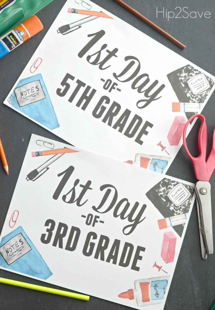 School accessories and style adorn these free first day printables from hip2save.com, grab the grades of your choice and start taking those pictures!