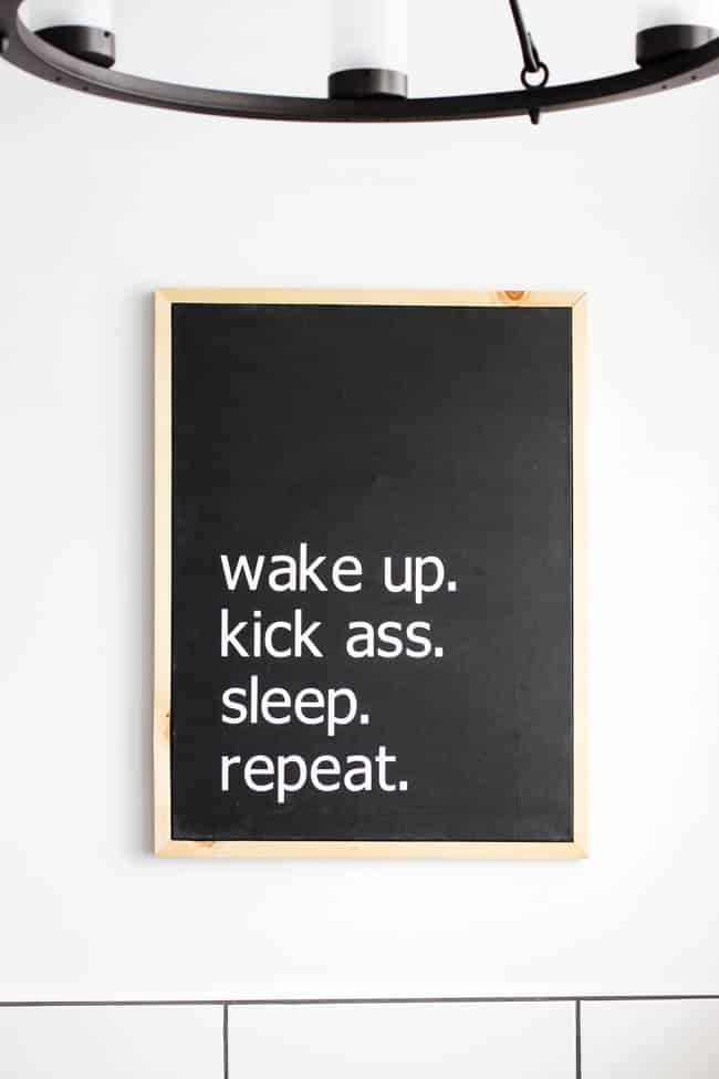Get your day going with this motivational modern canvas wall art from lovecreatecelebrate.com. Find the perfect place in your home to hang it.