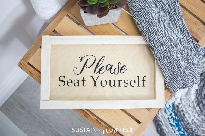 Here's some upscale bathroom humor for you. Sustainmycrafthabit.com uses her Cricut Easypress to create this DIY bathroom sign.