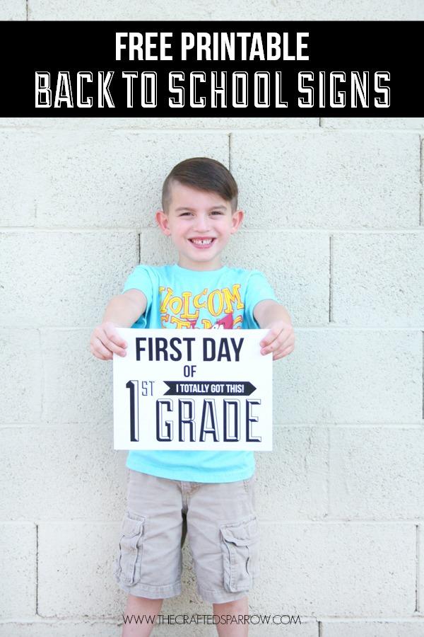 boy holding modern back to school sign