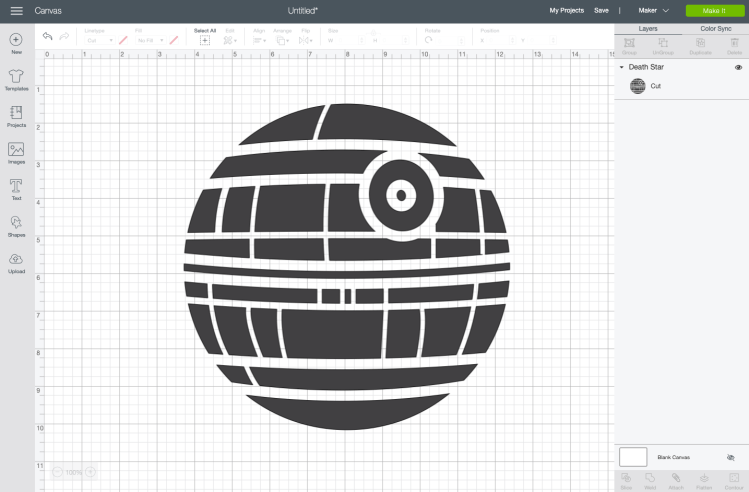 Death Star image in Design Space