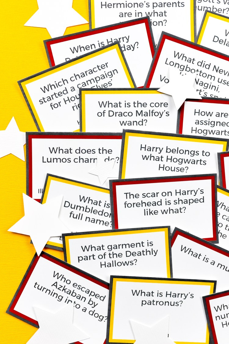 Test your smarts of everything Harry Potter—from characters to charms, Hogwarts to horcruxes—with this fun printable Harry Potter Trivia! Perfect for a Potterhead trivia night or party. Two versions—easy and hard, so every Potter fan can participate!