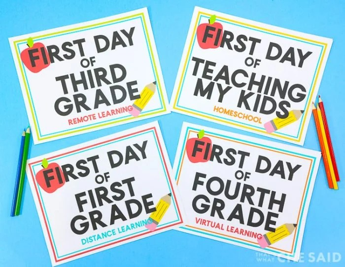 Back to school signs with lots of alternates
