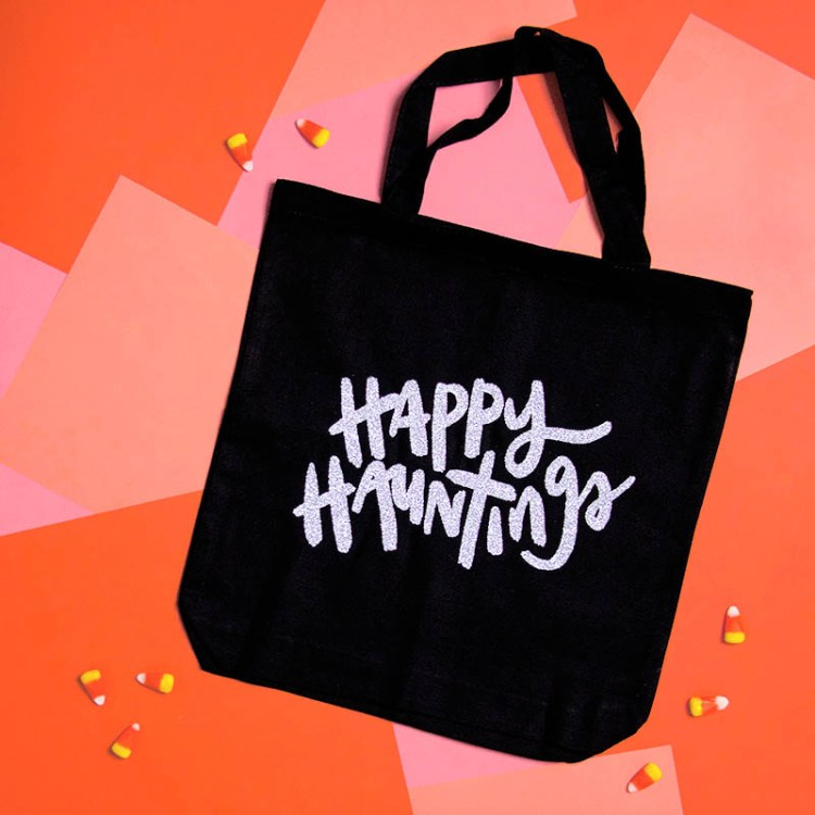 Your little ghosts and goblins will be ready to collect all the candy with this Happy Hauntings tote from persialou.com, get the cut file here.