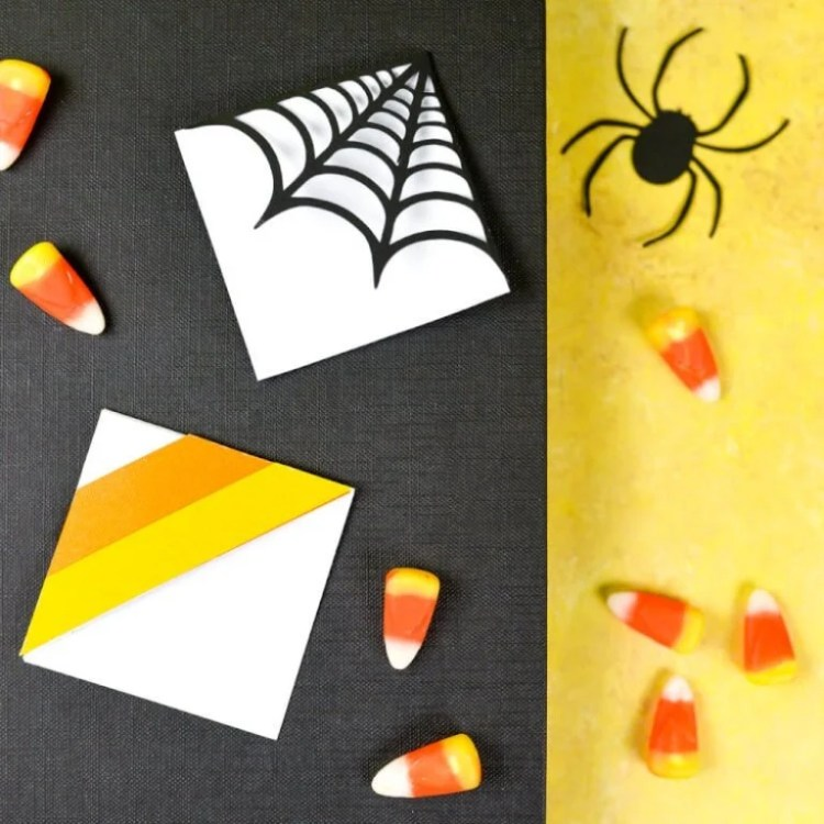 Make these clever corner Halloween bookmarks! The candy corn and spider web bookmarks from heyletsmakestuff.com are perfect for any time you're diving into a particularly spooky book.