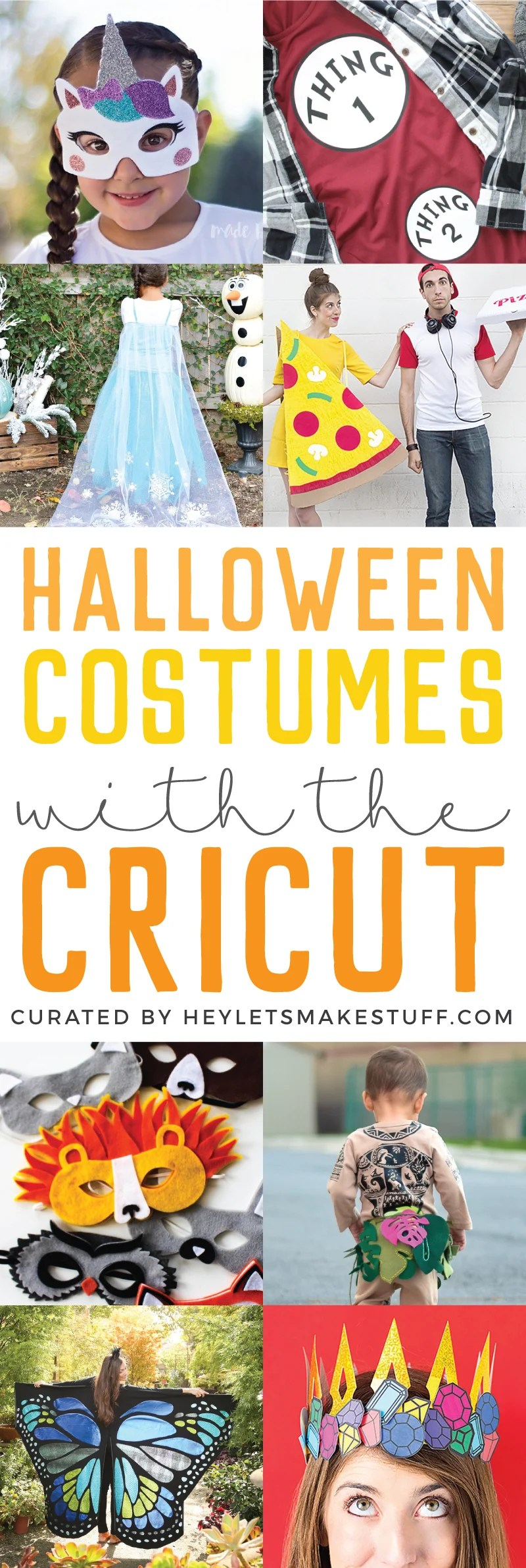 Looking for a way to create an amazing costume? Get out your Cricut and follow one of these Cricut costume tutorials! So many unique and fun costumes made with the Cricut. via @heyletsmakestuf