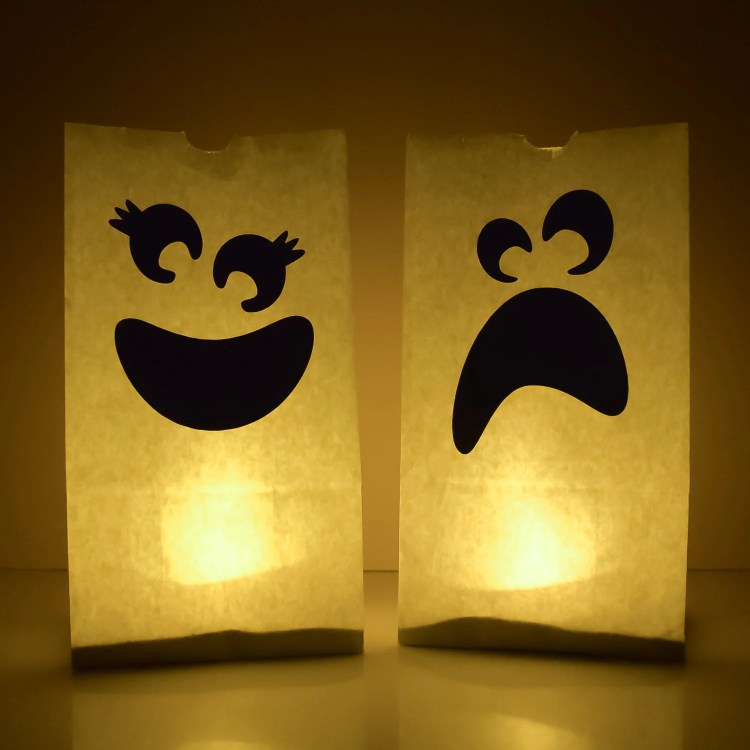 Ghost luminarias lit up at night