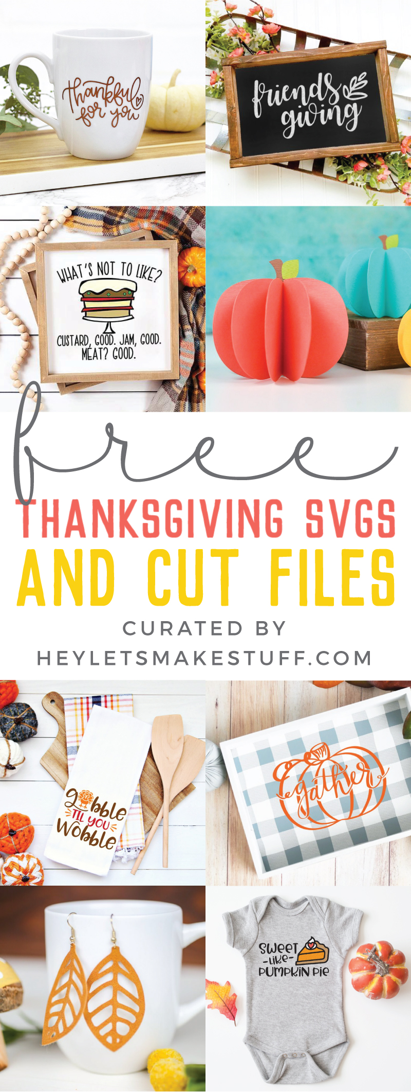 Pumpkins, leaves, turkeys and more! Fall is upon us, let the cooler weather and these Free SVG Files for Fall and Thanksgiving inspire you to get crafty! via @heyletsmakestuf