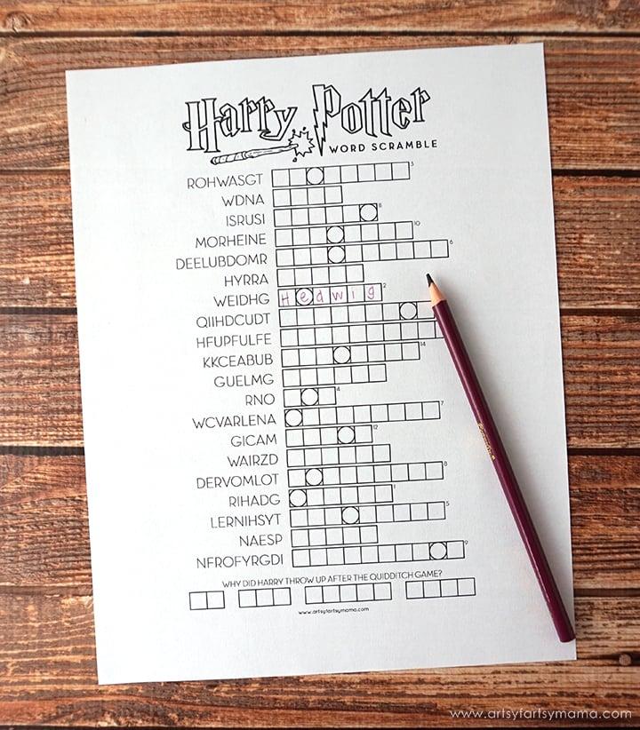 Harry Potter printable word scramble
