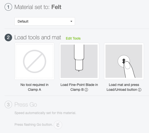 Cricut Explore: Set your material to felt