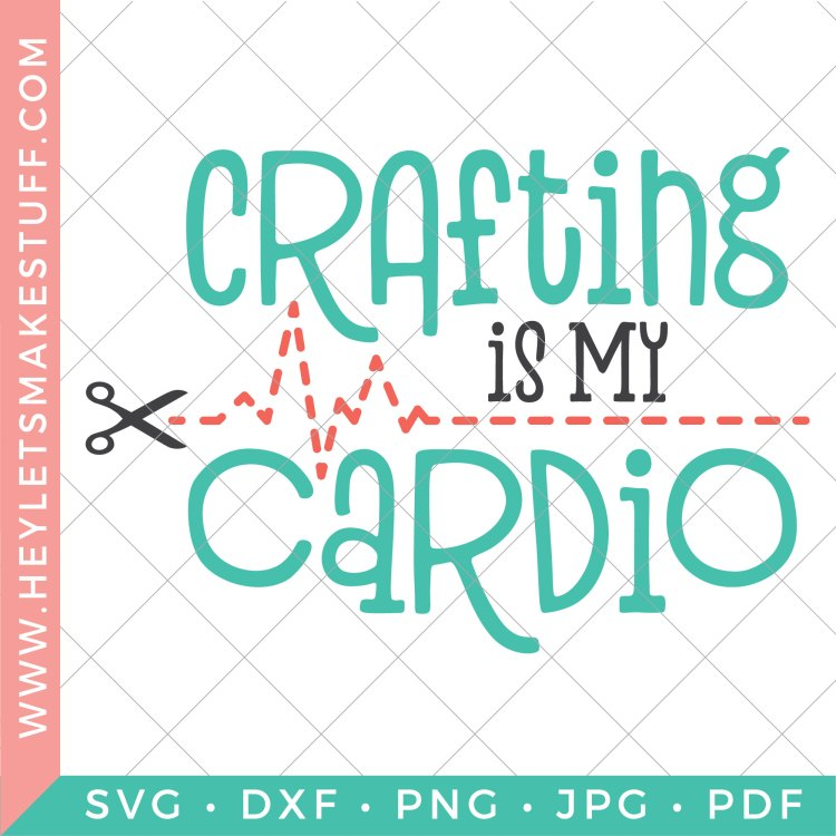 If you're burning calories in your craft room, this Crafting is My Cardio SVG is for you! This free crafting SVG is perfect for t-shirts and hoodies, mugs for your pens, or an apron to protect you from glitter spills!
