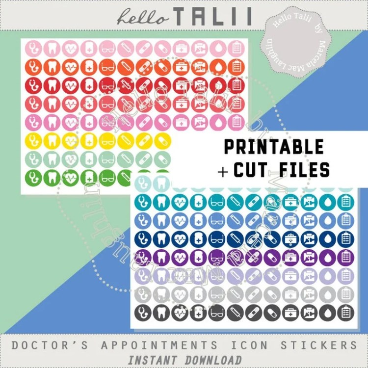 Hello Talii Printables - Health Icons