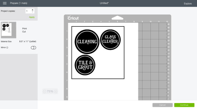 Click continue in the Prepare Screen when making printable vinyl labels.