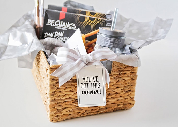 dinner and a movie new mom gift basket