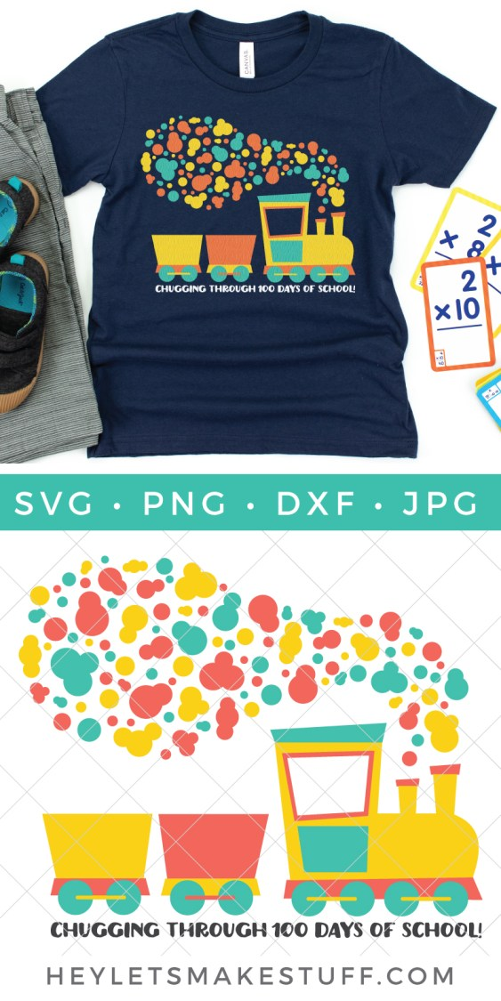 Celebrate making it more than halfway through the school year with this free train-themed 100 Days of School SVG! Plus get more than a dozen other FREE 100 Days of School cut files for Cricut and Silhouette machines.