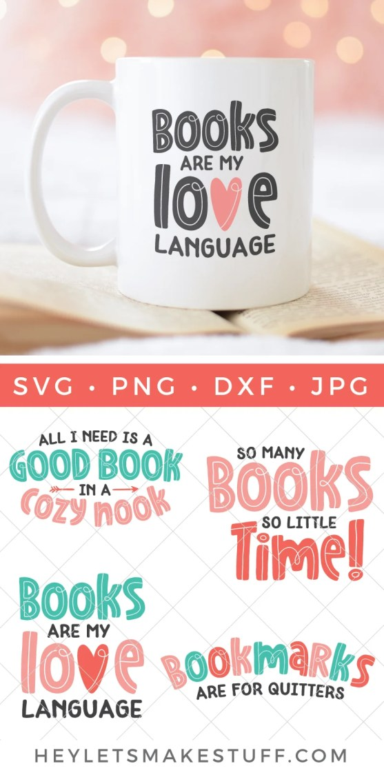 Use these book SVGs to declare your love for reading! There are four book SVG files total so you can show off your love for reading in so many different ways. Perfect for fellow bookworms, no matter their favorite genre!