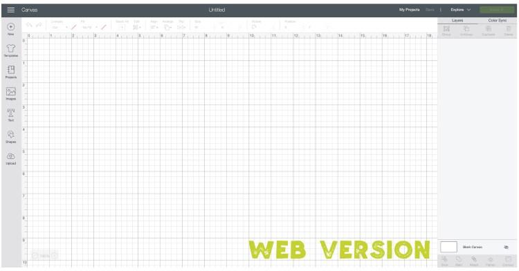 Web version of Cricut Design Space