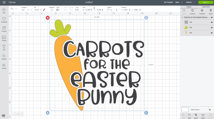 Carrots for the Easter Bunny decal in Design Space