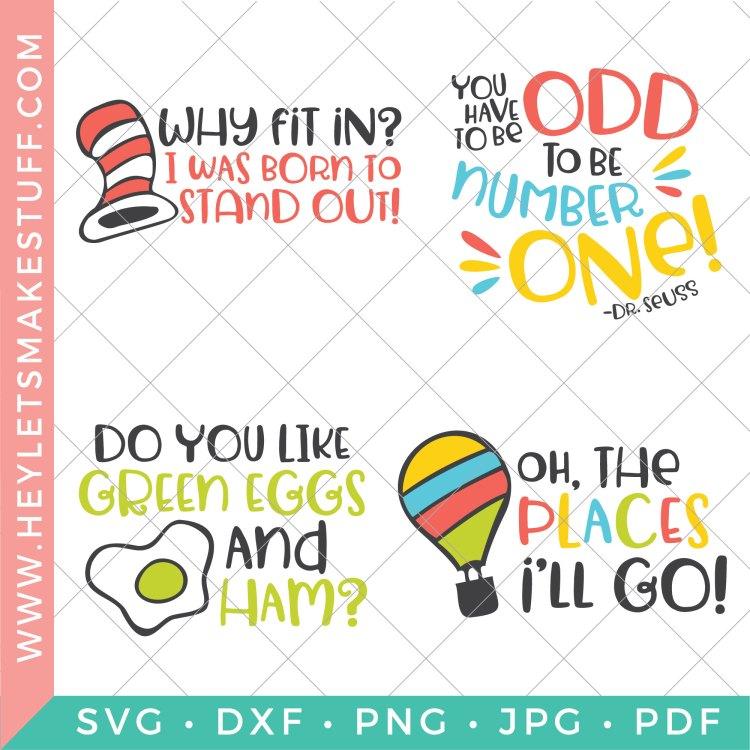 Four SVG files in this Dr. Seuss bundle