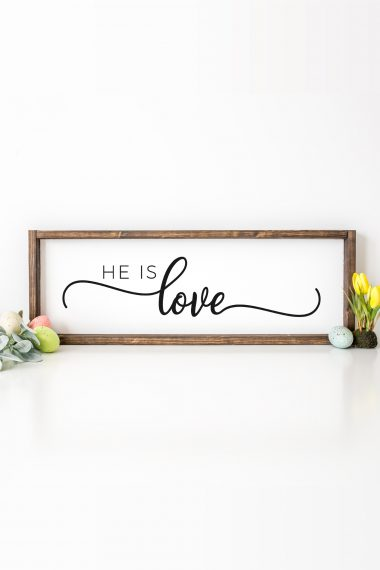 Get this free He Is Love SVG files plus more than a dozen other Christian-themed Easter cut files! Perfect for Christian t-shirts, home decor, and more