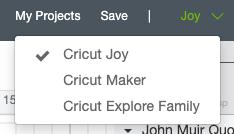 Select Cricut Joy as your machine in the dropdown menu of Design Space