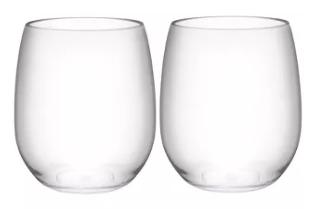 Stemless wineglasses for adhesive vinyl