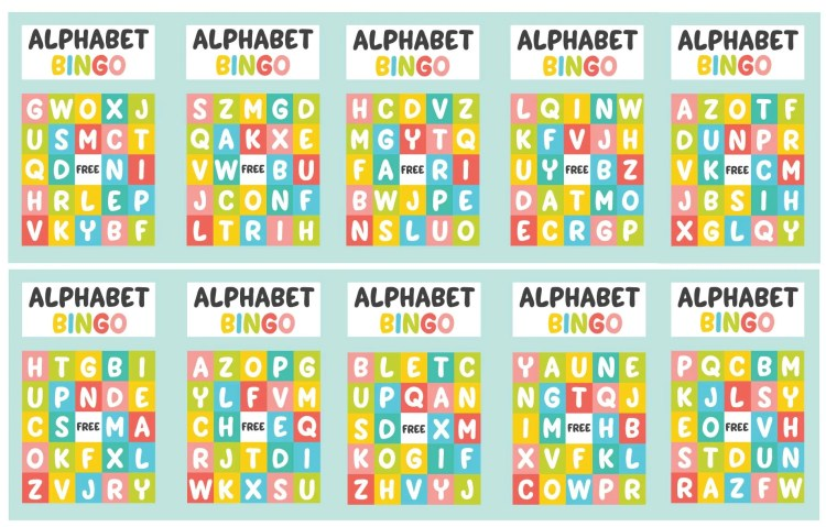 All 10 Alphabet Bingo Cards in this pack