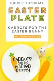 Make sure to give the Easter Bunny something to chomp on when he visits your house this Easter! Make this Carrots for the Easter Bunny plate using your Cricut and adhesive vinyl.
