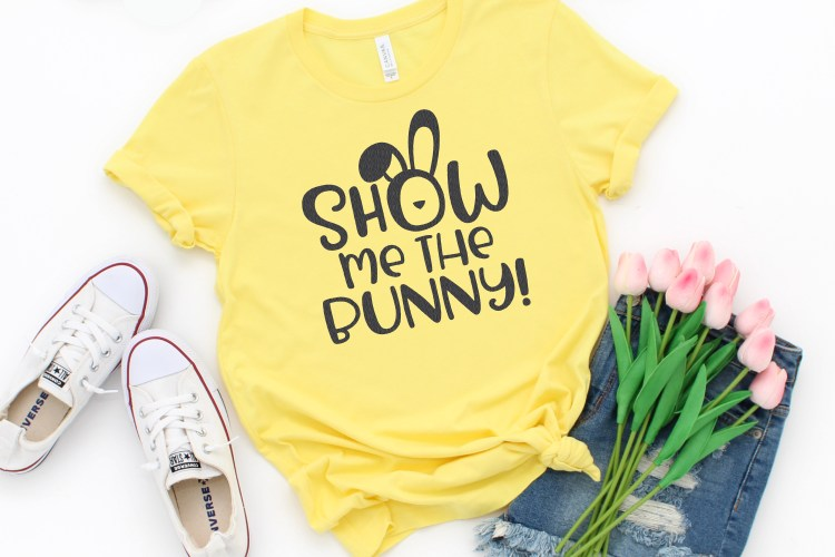 Show Me the Bunny cut file on yellow shirt with tulips