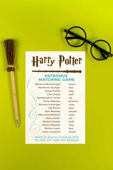 Think you know the patronal forms of each character in Harry Potter? Print out this Harry Potter patronus matching game and put your skills to the test! A magical game for any Harry Potter party.