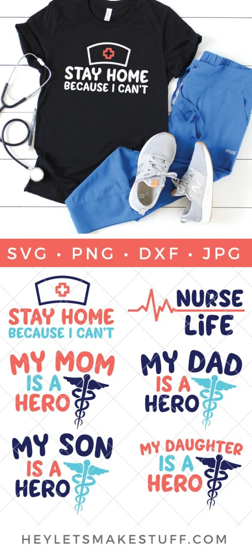 Nurse SVG files pin image