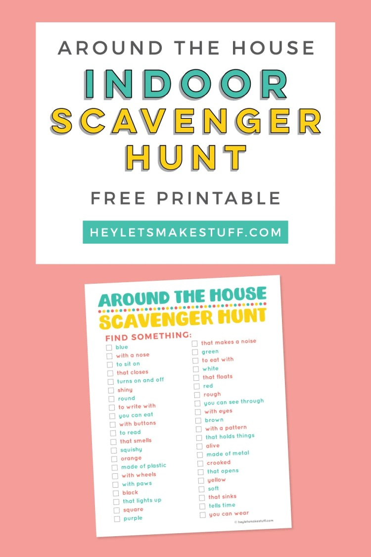 "Printable ""Around the House"" scavenger hunt pin image"