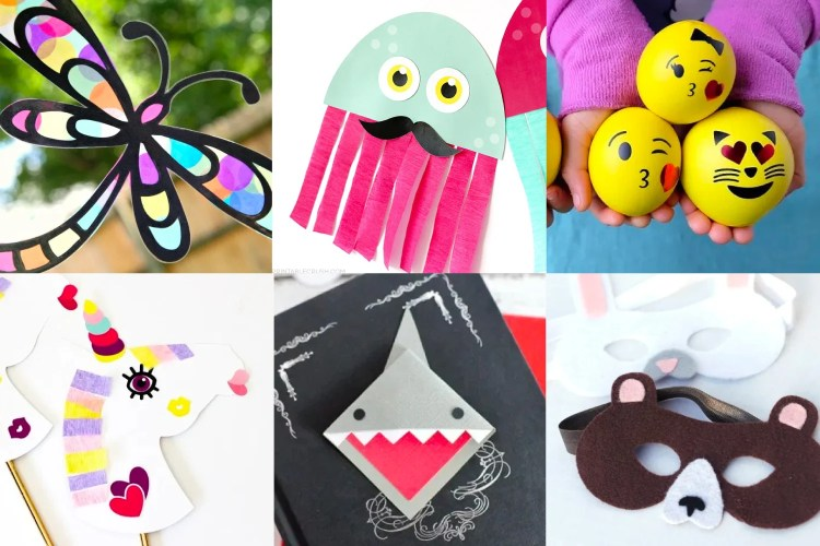 Collage of Kids Crafts with the Cricut including a paper butterfly, paper squid, squishy ball emojis, paper unicorn, shark bookmarks, and bear mask.