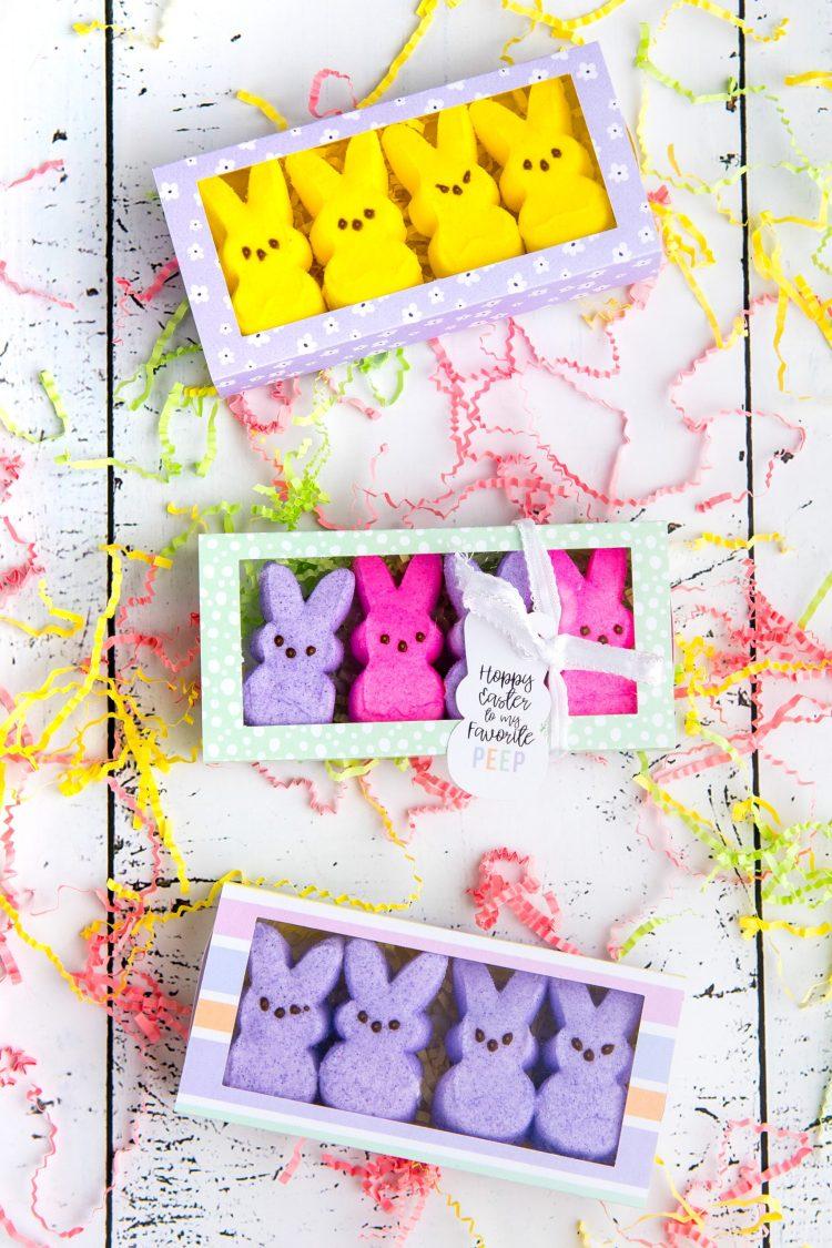 Easter Peeps treat box on table with peeps inside