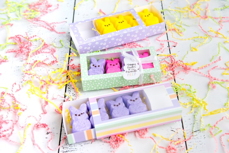 Easter Peeps treat box on table with peeps inside angled shot