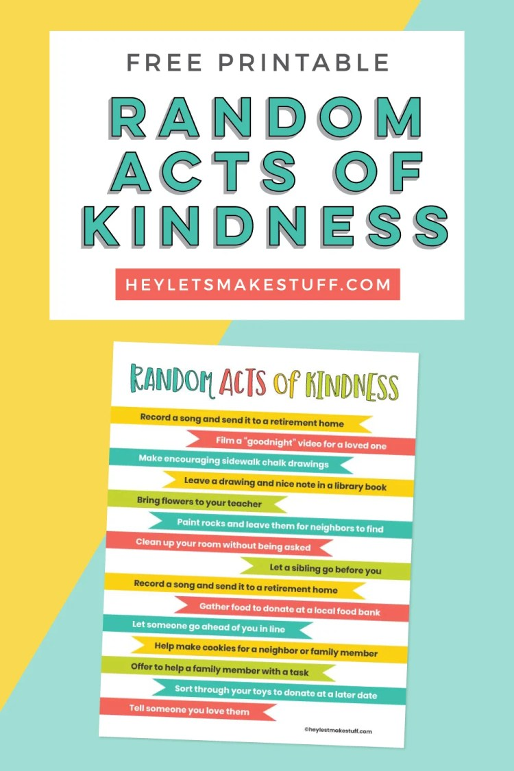 Free Printable Random Acts of Kindness pin image